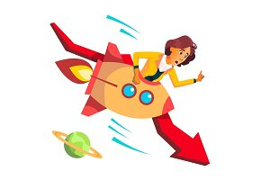 Business Woman Riding A Rocket Falls