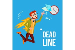 Deadline Vector. Businessman In Fire
