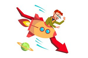 Businessman Riding A Rocket Falls