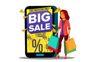 Online Shopping Vector. Modern