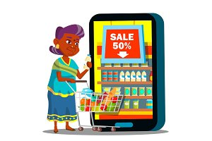 Online Shopping Vector. Old Woman