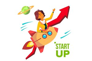 Startup Vector. Rocket Soars Up On