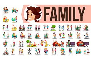 Family Set Vector. Family Members