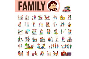 Family Set Vector. Lifestyle