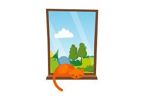 Cat Sleepping On The Window Vector