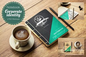 3 PSD Notebook Mockups