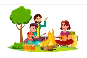 Happy Family With Children Sitting