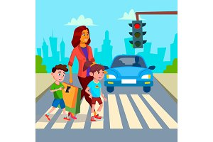 Mother With Children Walk At