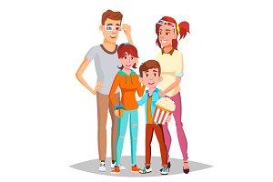 Family In Cinema Movie Vector