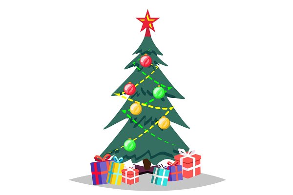 Christmas Tree Vector Cartoon Pre Designed Vector Graphics Creative Market You can pick up just 1 pose or get the complete pack. christmas tree vector cartoon