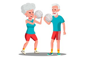 Active Elderly Man And Woman Playing