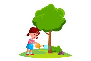 Girl Child Watering Tree, Earth Day