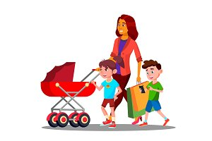 Mother Walking With A Baby Stroller