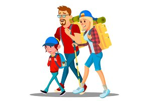 Family Go To Camping With Backpacks