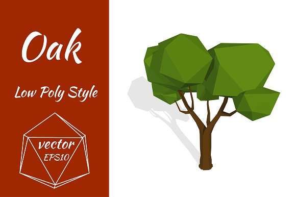 Oak Tree In Low Poly Style Vector Graphic Objects Creative Market