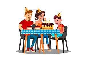 Birthday Of Child, Family Sitting At