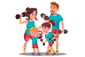 Sports Family, Parents And Children
