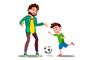 Father Playing Football With His
