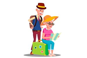 Elderly Couple At The Airport With