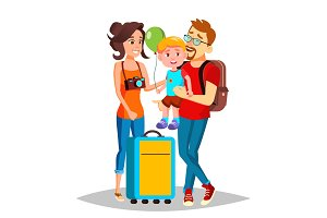 Young Family Traveling With A Small