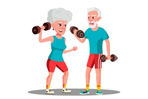 Elderly Couple Doing Sports With