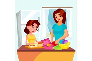 Daughter Helps Her Mother Cooking