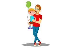Young Father With A Child With