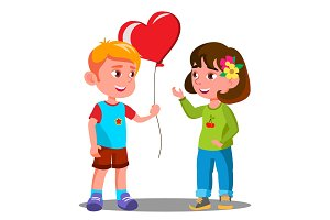 Little Boy Gives The Girl Red Heart