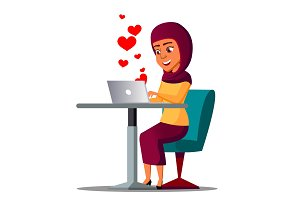 Sitting Arab Girl With Laptop With