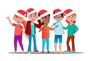 Children In Christmas Caps Singing