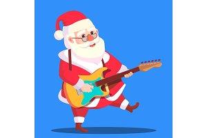 Santa Claus Dancing With Guitar In