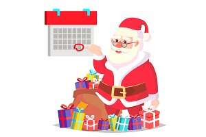 Santa Claus And Calendar With A Red