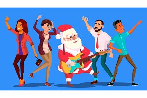 Santa Claus Dancing With Group Of