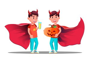 Little Boy With Devil Horns, Cloak