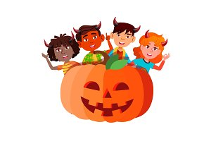 Group Of Children With Devil Horns