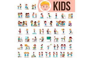 Kids Children Set Vector. Baby