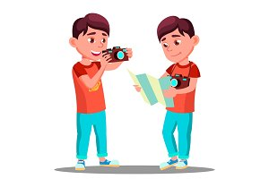 Cute Little Boy Take A Photo With