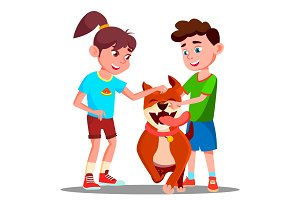 Two Children Petting A Happy Dog