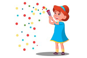 Girl Child Throw Colored Confetti At