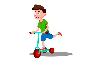 Active Little Boy Is Riding A