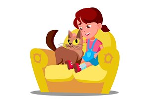 Little Girl With A Cat Sitting On
