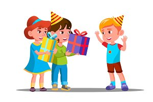 Children Give Birthday Gifts To A