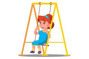 Little Girl Having Fun On A Swing In
