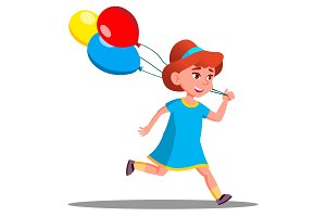 Little Girl Running With Colored