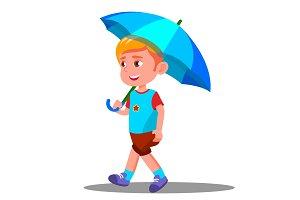 Little Boy Walks With An Open Blue