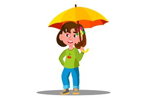 Cheerful Child With Yellow Umbrella