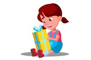 Little Girl Opening Gift Christmas