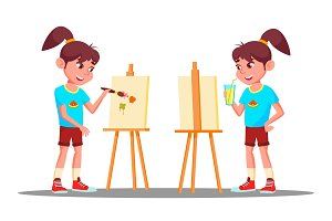 Little Girl Drawing On The Easel