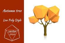 Yellow autumn tree. Vector
