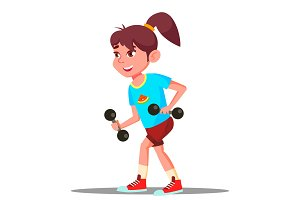 Girl Engaging In Fitness Vector